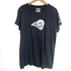 UA XL LA Rams blue loose fit heat gear T-shirt top